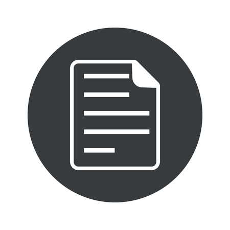 article writing: Image of document page in black circle, isolated on white Illustration