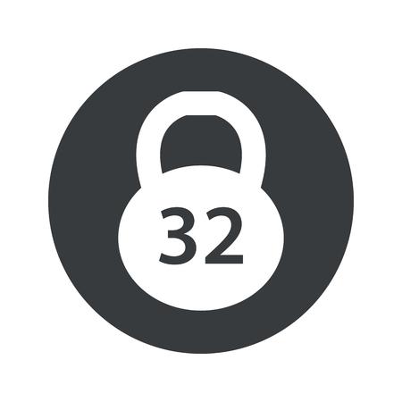 32: Image of 32 kg dumbbell in black circle, isolated on white Illustration