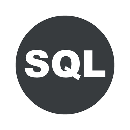 Text SQL in black circle, isolated on white