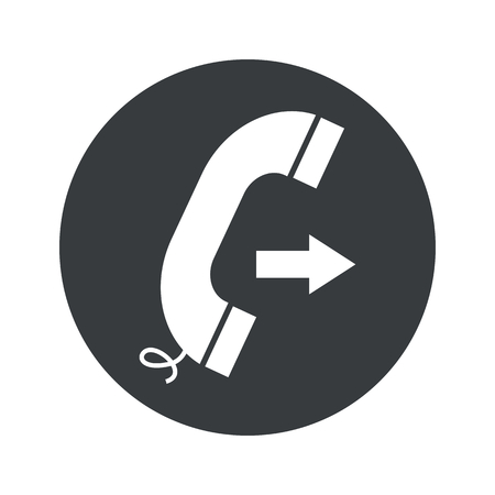 phone receiver: Image of phone receiver with right arrow in black circle, isolated on white Illustration