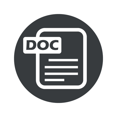 ms: Image of document page with text DOC in black circle, isolated on white Illustration