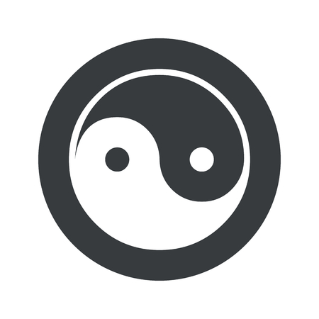 Image of ying yang symbol in black circle, isolated on white
