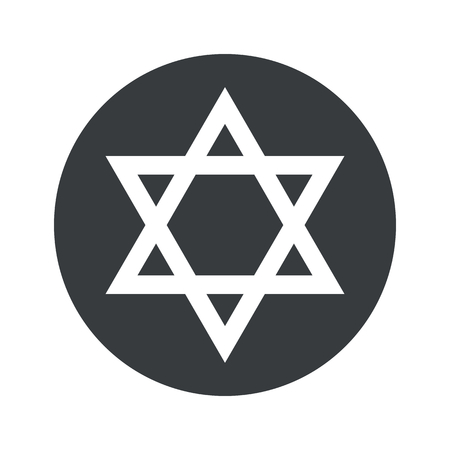 judaica: Star of David symbol in black circle, isolated on white