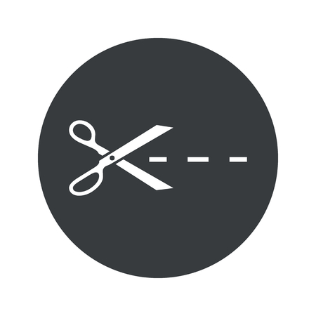 slit: Image of scissors cutting along the line in black circle, isolated on white