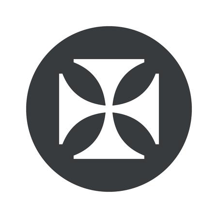 maltese: Image of maltese cross in black circle, isolated on white