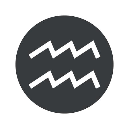 Image of Aquarius zodiac symbol in black circle, isolated on white Illustration
