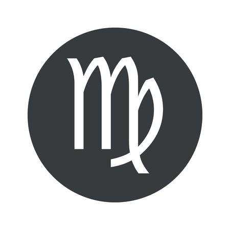 virgo: Imagen de Virgo símbolo del zodiaco en el círculo negro, aislado en blanco