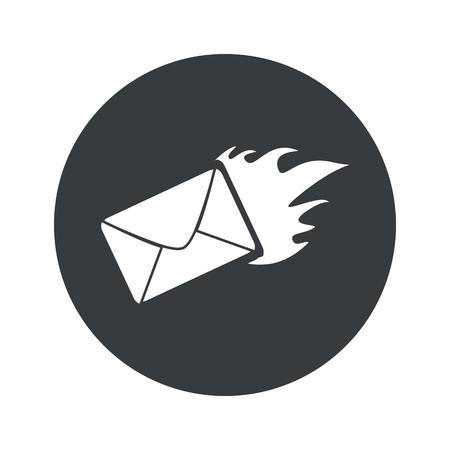 meaningful: Image of burning envelope in black circle, isolated on white