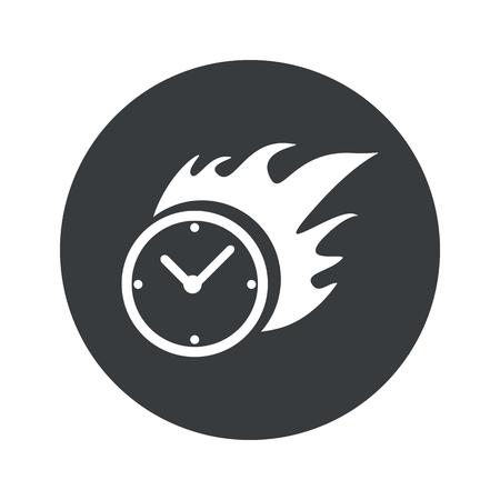 bounds: Image of burning clock in black circle, isolated on white Illustration