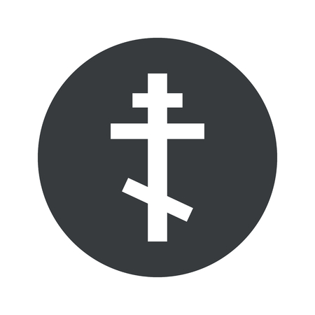 orthodox: Image of orthodox cross in black circle, isolated on white