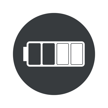 half full: Image of half full battery in black circle, isolated on white