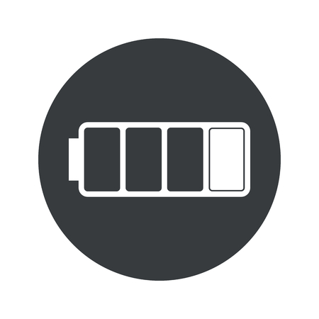 lithium: Image of low battery in black circle, isolated on white