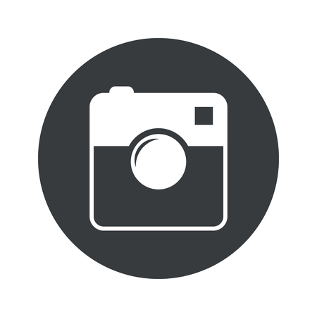 microblog: Image of square camera in black circle, isolated on white