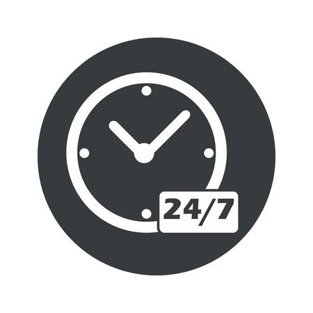 白で隔離本文 24 黒円で 7 あたりの時計のイメージ  イラスト・ベクター素材