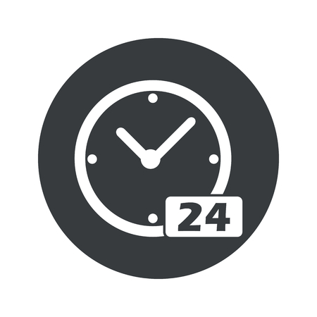 twenty four hours: Image of clock with text 24 in black circle, isolated on white