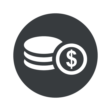 Image of dollar rouleau in black circle, isolated on white