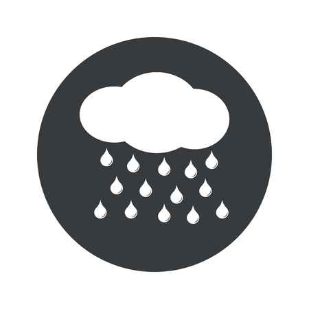 sleet: Image of cloud and water drops in black circle, isolated on white