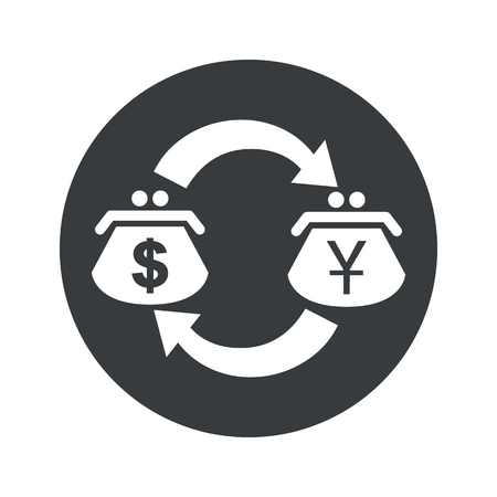 purses: Image of exchange between dollar and yen purses in black circle, isolated on white