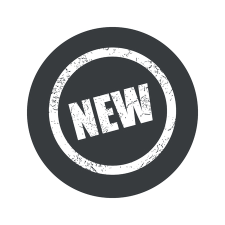 newness: Text NEW in grunge circle, in black circle, isolated on white
