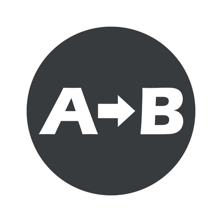 consequence: Letters A, B and arrow in black circle, isolated on white