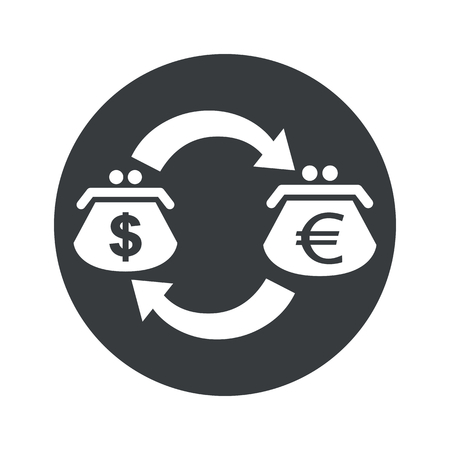 purses: Image of exchange between dollar and euro purses in black circle, isolated on white