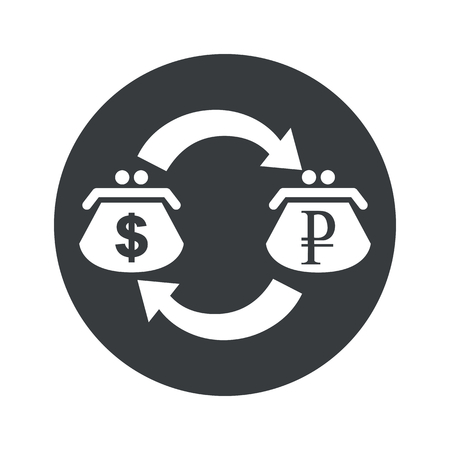purses: Image of exchange between dollar and ruble purses in black circle, isolated on white Illustration
