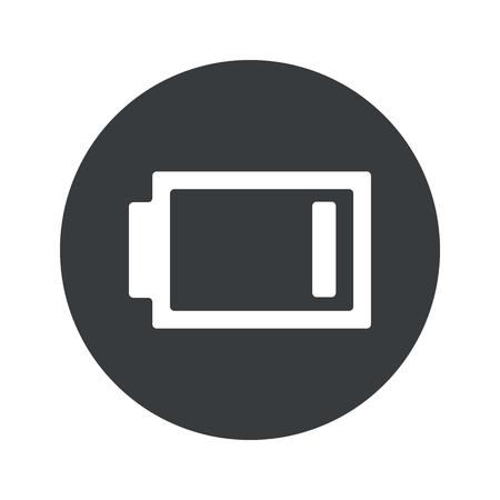 very: Image of very low battery in black circle, isolated on white Illustration