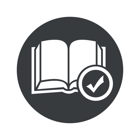 book mark: Image of open book with tick mark in black circle, isolated on white Illustration