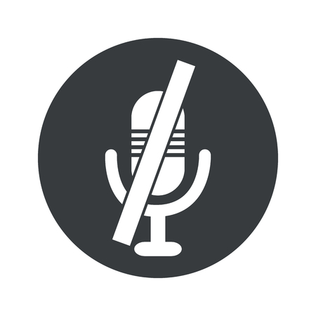 muted: Image of muted microphone in black circle, isolated on white