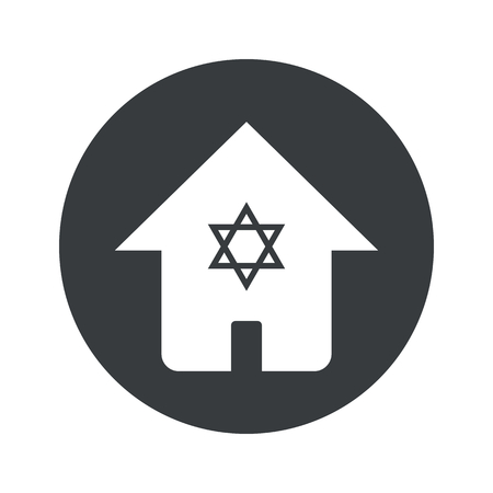 jewish houses: Image of house with Star of David in black circle, isolated on white