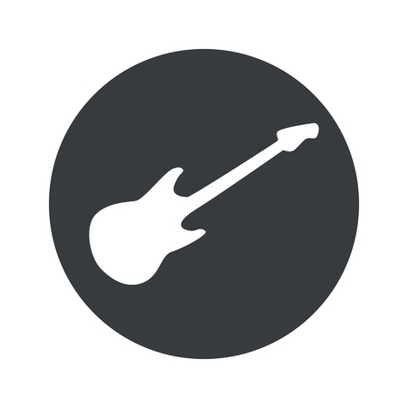 lead guitar: Image of electric guitar in black circle, isolated on white