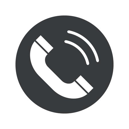 ringing phone: Image of ringing phone receiver in black circle, isolated on white Illustration