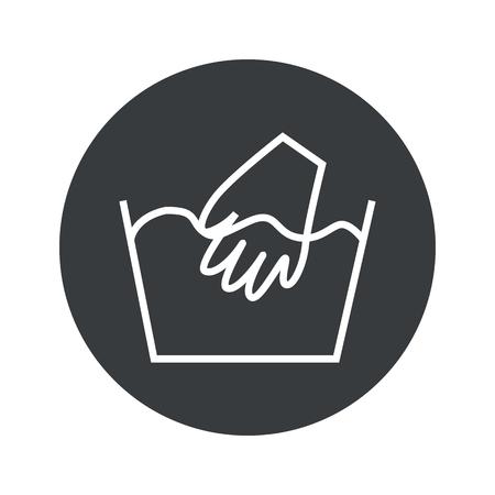 washable: Image of hand wash sign in black circle, isolated on white Illustration
