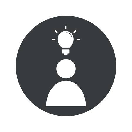 from above: User icon with light bulb above head in black circle, isolated on white