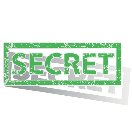 secret word: Green stamp with word SECRET and shadow, isolated on white