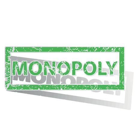 monopoly: Sello verde con MONOPOLY palabra y la sombra, aislado en blanco