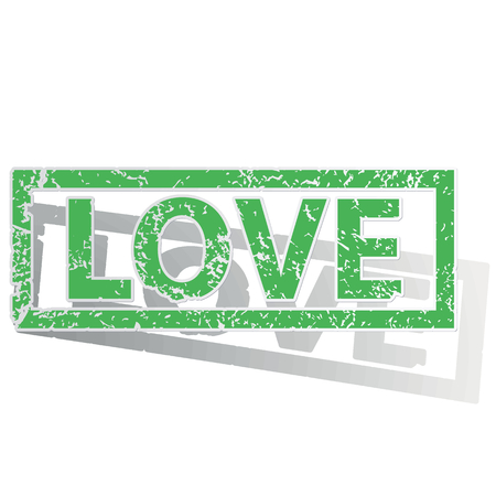 archive site: Green stamp with word LOVE and shadow, isolated on white Illustration