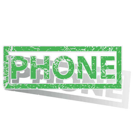 unclean: Green stamp with word PHONE and shadow, isolated on white Illustration