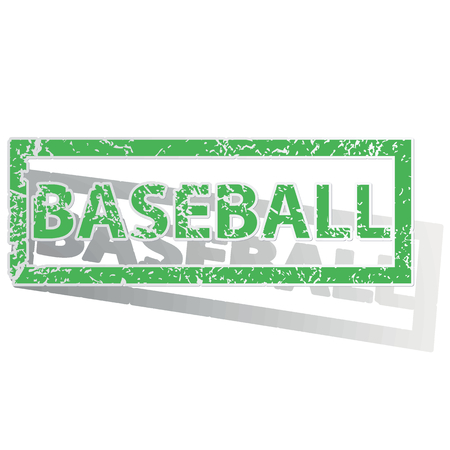 archive site: Green stamp with word BASEBALL and shadow, isolated on white