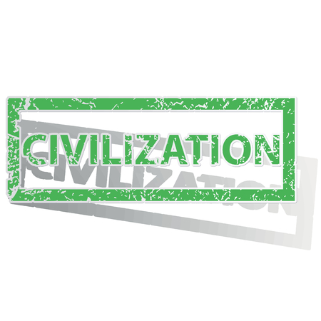 archive site: Green stamp with word CIVILIZATION and shadow, isolated on white Illustration