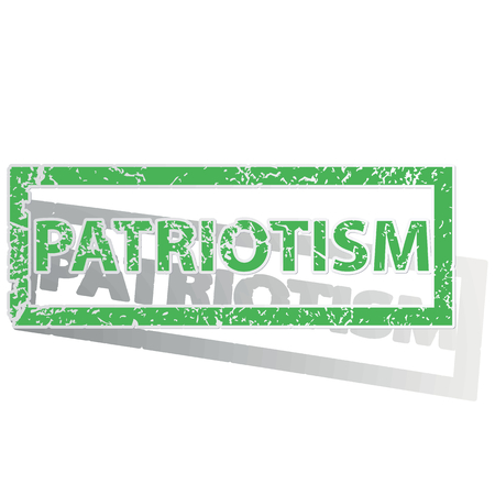patriotism: Green stamp with word PATRIOTISM and shadow, isolated on white