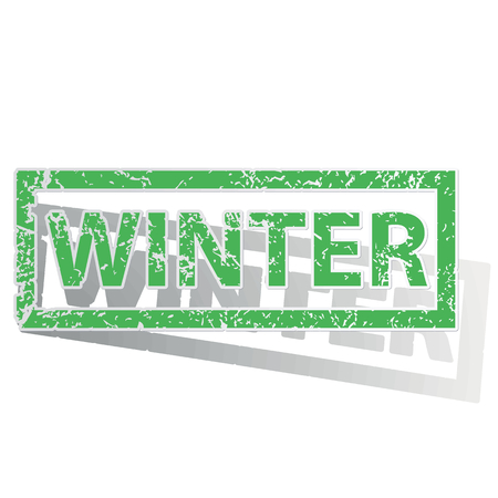 archive site: Green stamp with word WINTER and shadow, isolated on white Illustration
