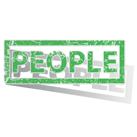 shadow people: Green stamp with word PEOPLE and shadow, isolated on white Illustration