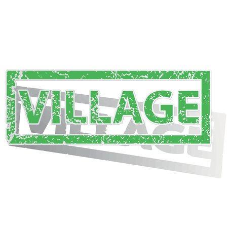 archive site: Green stamp with word VILLAGE and shadow, isolated on white
