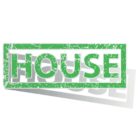 unclean: Green stamp with word HOUSE and shadow, isolated on white