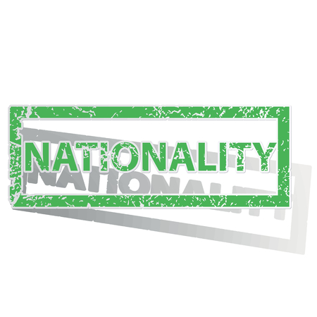 nationality: Green stamp with word NATIONALITY and shadow, isolated on white