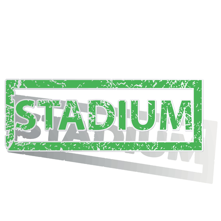 unclean: Green stamp with word STADIUM and shadow, isolated on white