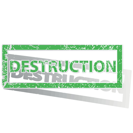 destruction: Green stamp with word DESTRUCTION and shadow, isolated on white