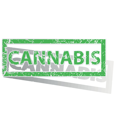 unclean: Green stamp with word CANNABIS and shadow, isolated on white Illustration