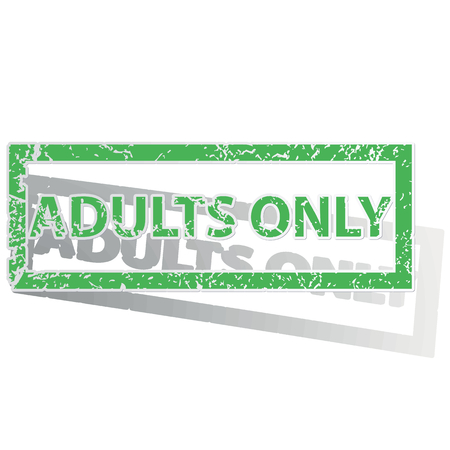 adult only: Green stamp with words ADULTS ONLY and shadow, isolated on white